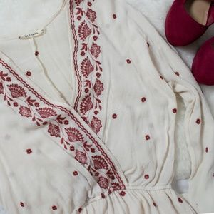Chloe and Katie Boho Cream Red Embroidered Romper